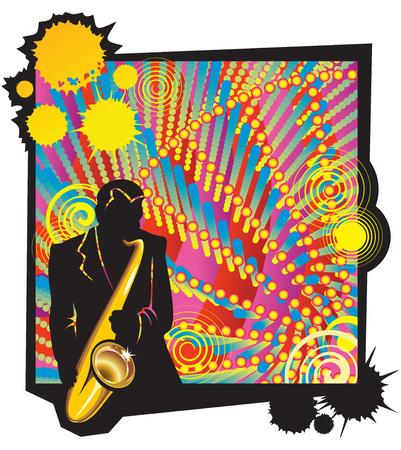 transpozycji: Muzyczne jazzowy strona z sylweta saksofonista na pierwszym planie, ilustracji wektorowych