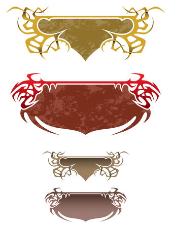 Set of fantasy thorny frames, several color variants, with and without grunge background, vector illustration Stock Vector - 5905079