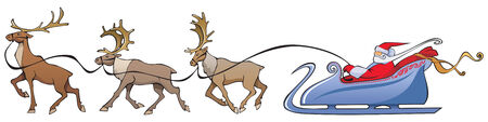 rein: Santa Claus sleighing, Christmas reindeer sleighing, vector illustration Illustration