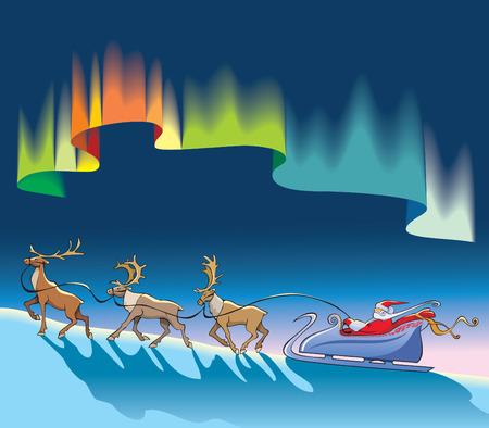 polar light: Santa Claus sleighing, vector de renos de Navidad, en virtud de la northern lights (aurora borealis), fondo de noche polar, ilustraci�n