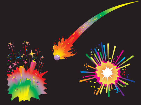 Set of holiday fireworks with burst comet ball, explosions and stars, vector illustration Stock Vector - 5905076