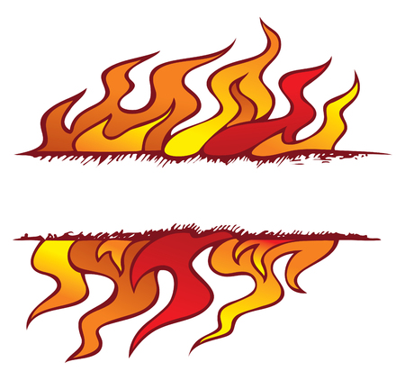 elemental: Fire, one of the four elements of nature in the shape of ornamental frame, vector illustration