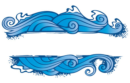 wave crest: Water, one of the four elements of nature in the shape of ornamental frame, vector illustration