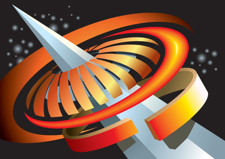 Abstract space background, concentric composition, vector illustration Stock Vector - 5905085