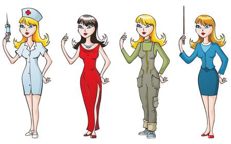 Set of 4 women, different occupations: nurse, singer, geologist and teacher. Vector illustration Vector