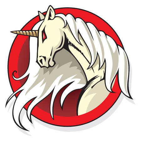 Stylized Unicorns head in the round frame, vector illustration