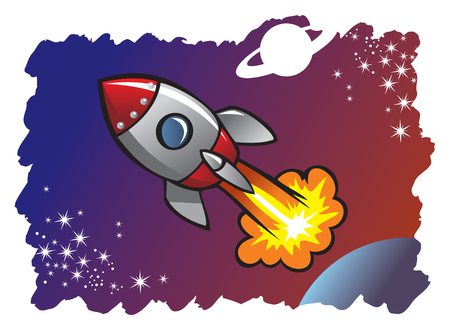 cartoon rocket: Cartoon style spaceship or rocket flying in the space among planets and stars, vector illustration