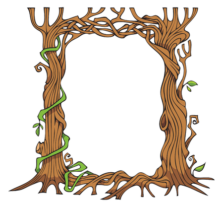 Interwoven brunches and roots of the trees forming a frame, vector illustration Illustration