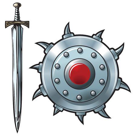 espadas medievales: Espada de fantas�a y un escudo de brillante metal, ilustraci�n vectorial