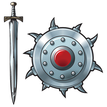 war decoration: Fantasy sword and shield made of shining metal, vector illustration
