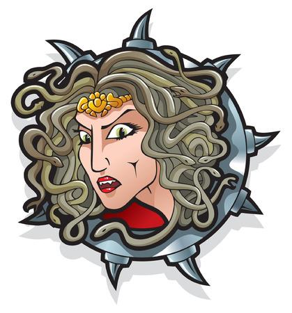 greek god: Medusa la gorgona, un monstruo femenino, ten�a el pelo de serpientes venenosas de la vida, un personaje de la mitolog�a griega,  Vectores