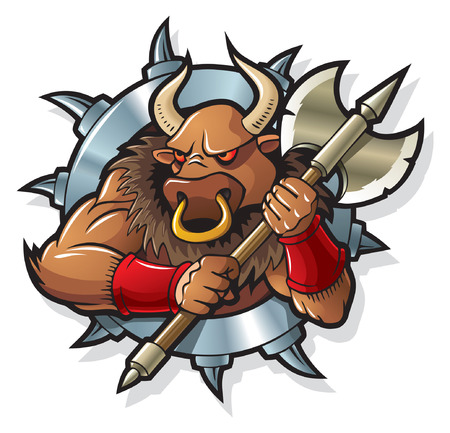 Minotaur, mythical creature, living in Crete Labyrinth, against a backdrop of metal blade wheel or frame,