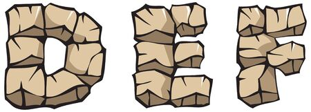 def: Series of Stone alphabet: letters DEF, hand drawing font Illustration