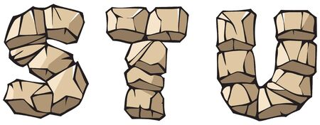 stu: Series of Stone alphabet: letters STU, hand drawing font Illustration