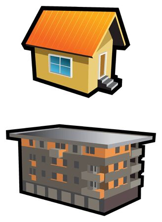 Two types of buildings, small hut and tenement-house Stock Vector - 6667894