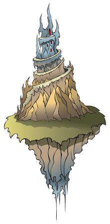 Cartoon castle with spires on flying island Vector