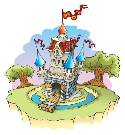 Cartoon fantasy castle, surrounded by water moat