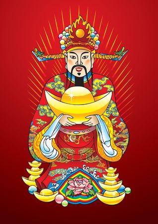 lucky man: Chinese New Year god of wealth, riches and prosperity, with golden treasures and flower of lotus Illustration