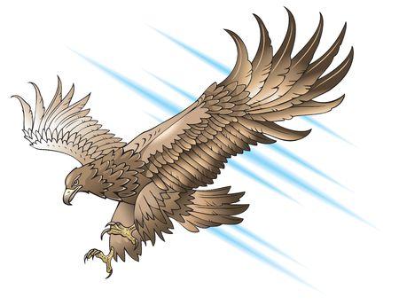 Eagle met grote vleugels, duikt of aanvallen, verloop vulling  Stock Illustratie