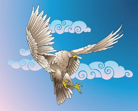 swoop: Eagle con grandes alas, luchando contra el viento, el relleno de degradado