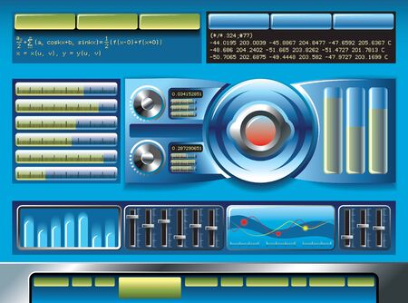 Interface for software or hardware, website with plenty of meters and control panels Vector