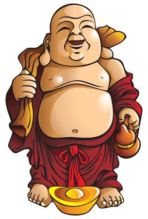 man meditating: Laughing Buddha with huge belly, sack and gold ingot, traditional Chinese god Illustration