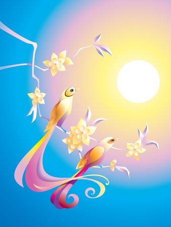 phoenix bird: Birds in the morning on the branch with flowers, in Chinese traditional style