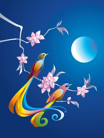 phoenix bird: Birds in the night on the branch with flowers, in Chinese traditional style Illustration