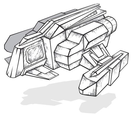 Black and white drawing of spaceship Vector