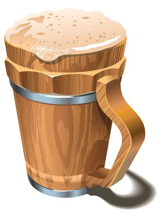tankard: Wooden cup or tankard full of beer, with froth head Illustration