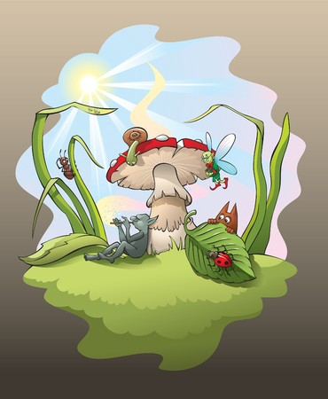 inhabitants: Magic scene with troll playing the flute under the big mushroom, surrounded by enchanted forest little inhabitants,  illustration Illustration