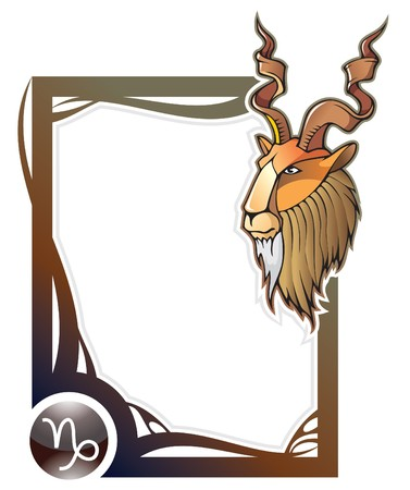 rams horns: Capricorn, the tenth sign from the series of the zodiac frames in cartoon style,  illustration
