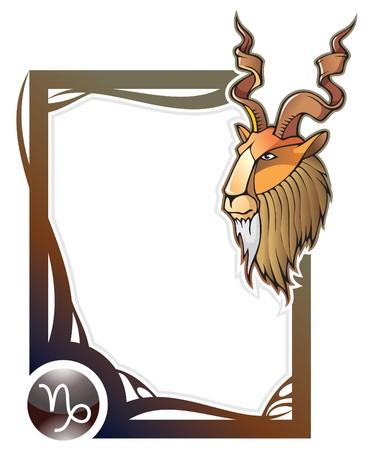 capricornio: Capricornio, el d�cimo signo de la serie de los marcos de Zodiaco en estilo de dibujos animados, ilustraci�n