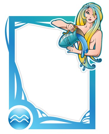 Aquarius, the eleventh sign from the series of the zodiac frames in cartoon style, illustration