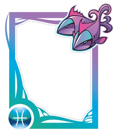 Pisces, the twelfth sign from the series of the zodiac frames in cartoon style,  illustration