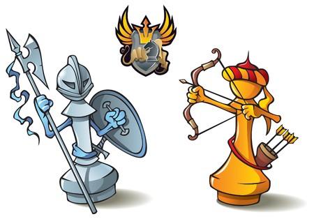 caballo de ajedrez: Serie de piezas de ajedrez, blancos y negro de peones, cruzados frente a los sarracenos, incluyendo el emblema her�ldico de la batalla de ajedrez de Bono, ilustraci�n