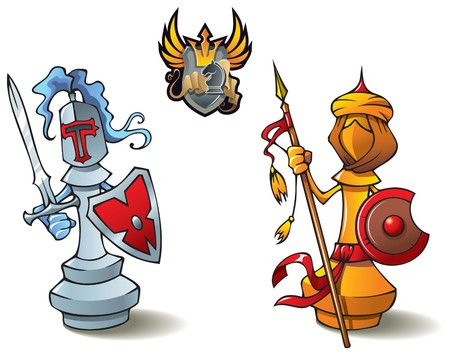 Chess pieces series, black and white bishops, Crusaders vs. Saracens, including bonus Chess Battle heraldic emblem,  illustration