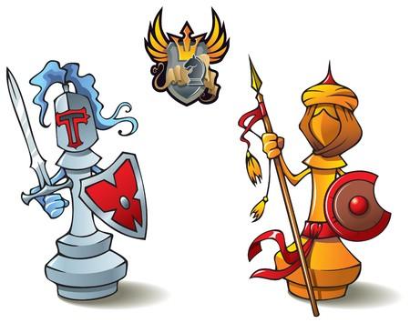 Schaak stukken serie, zwart-wit bisschoppen, Crusaders vs. Saracenen, met inbegrip van bonus Schaken slag heraldische embleem, afbeelding