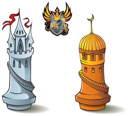 chess: Serie de piezas de ajedrez, torres blancas y negro, cruzados frente a los sarracenos, incluyendo el bono & acir batalla de ajedrez & acirc emblema heráldico, ilustración Vectores