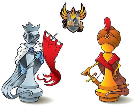 nemici: Serie di pezzi degli scacchi, re bianchi e nero, Crusaders vs Saraceni, tra cui bonus % uFFFDChess battaglia & acirc emblema araldico, illustrazione