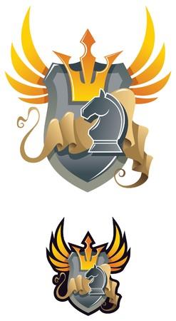 chess knight: Emblema araldico degli scacchi, con corona e cavaliere di scacchi, illustrazione