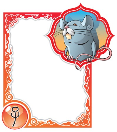 zodiacal sign: Rat or mouse, the first sign of the Chinese zodiacs 12 animals,  illustration in cartoon style Illustration
