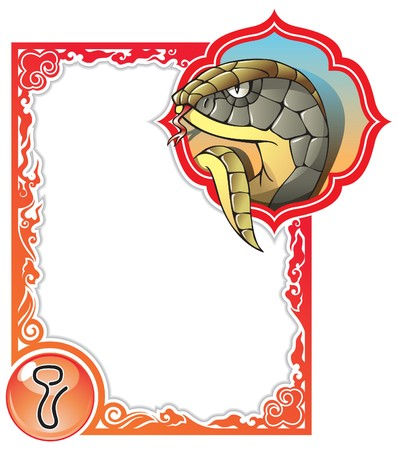 viper: Snake, the sixth sign of the Chinese zodiacs 12 animals,  illustration in cartoon style