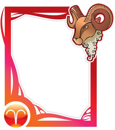 Aries, the first sign from the series of the zodiac frames in cartoon style, illustration