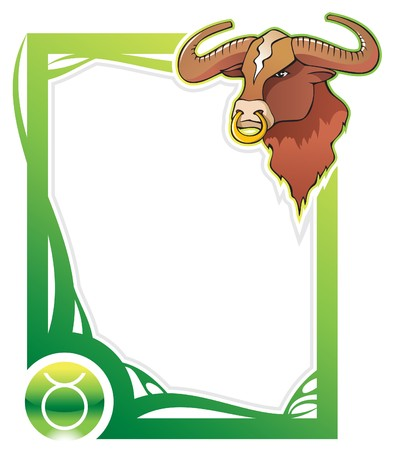 Taurus, the second sign from the series of the zodiac frames in cartoon style, illustration