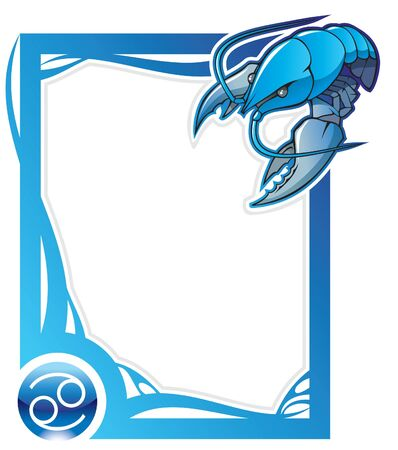 zodiacal sign: Cancer, the fourth sign from the series of the zodiac frames in cartoon style, illustration Illustration