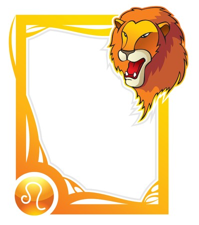 Leo, the fifth sign from the series of the zodiac frames in cartoon style,  illustration Vector