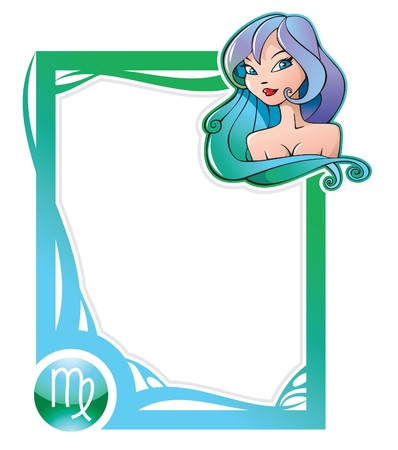 constellations: Virgo, the sixth sign from the series of the zodiac frames in cartoon style,  illustration