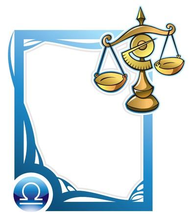 signes du zodiaque: Balance, le septi�me signe de la s�rie des cadres dans le style de dessin anim�, illustration du zodiaque