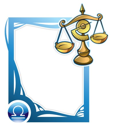 Libra, the seventh sign from the series of the zodiac frames in cartoon style,  illustration Vector